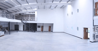 Mezzanine floor in an empty warehouse building