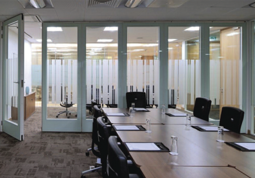 Operable walls separating two office rooms