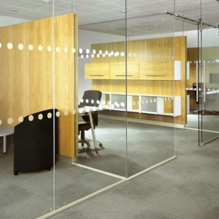 Glass walls in office