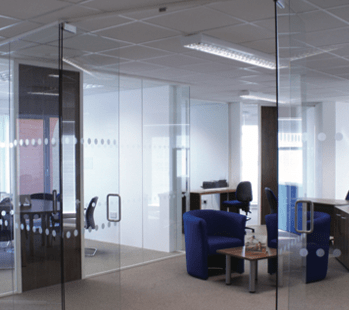 Glass partitioning and doors in office