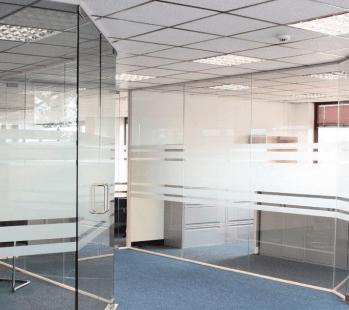 Hills prospect glass partitioning with frosted glass design